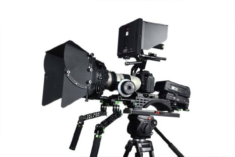 Camera rig with v-mount battery solution